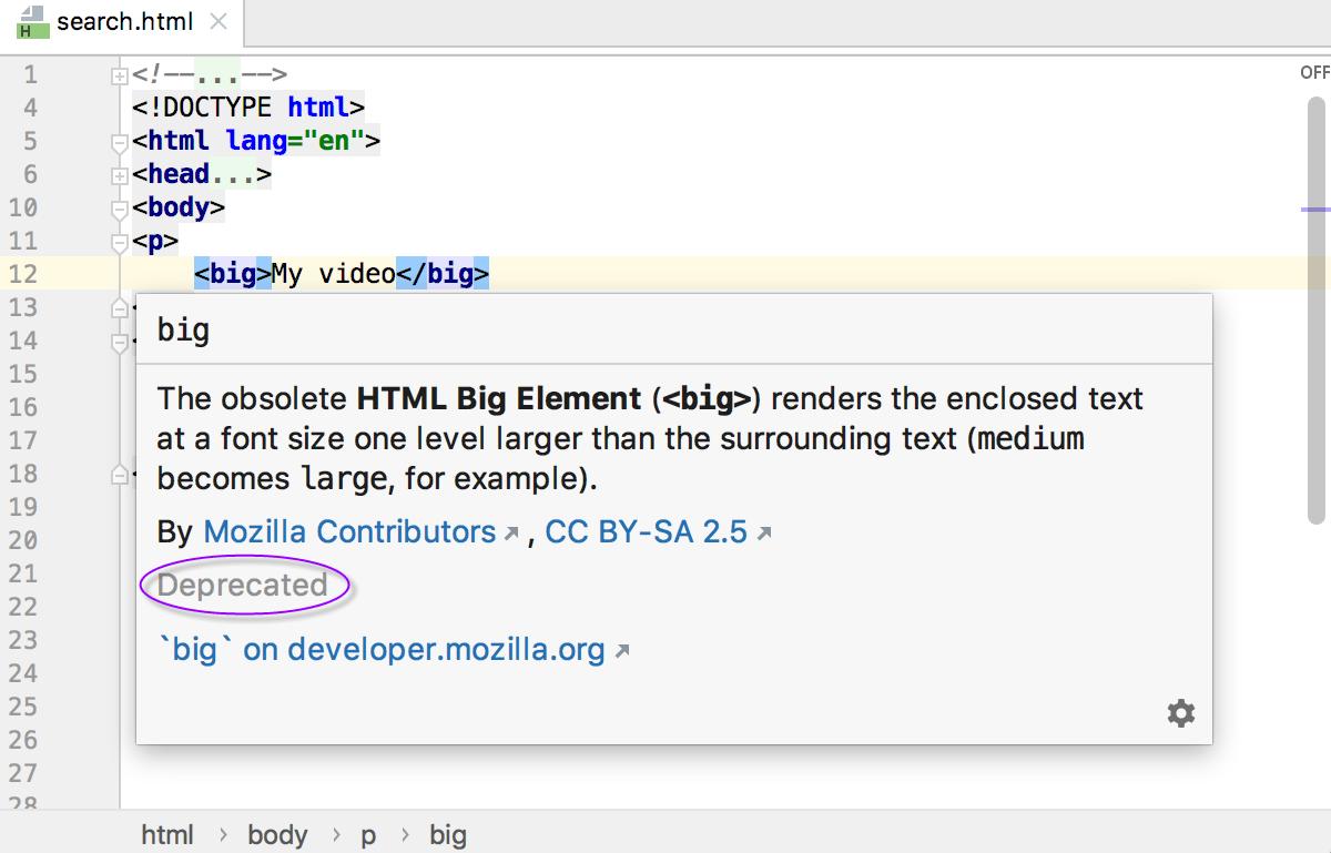 HTML quick documentation: status Deprecated for <big> tag