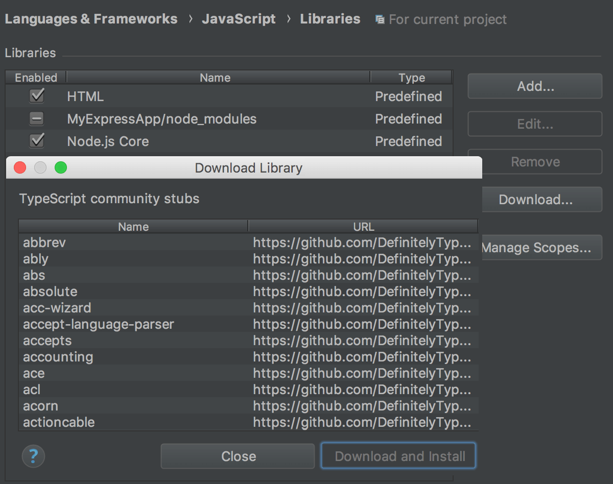 Configuring JavaScript Libraries - Help | WebStorm
