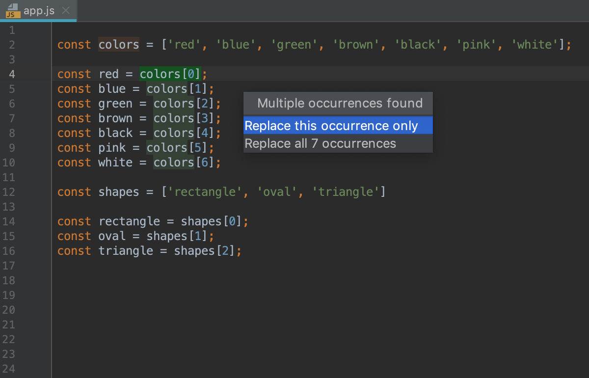 Refactoring JavaScript - Help | WebStorm