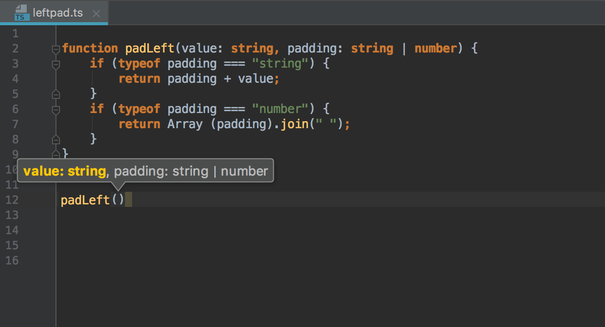Viewing Method Parameter Information - Help | WebStorm
