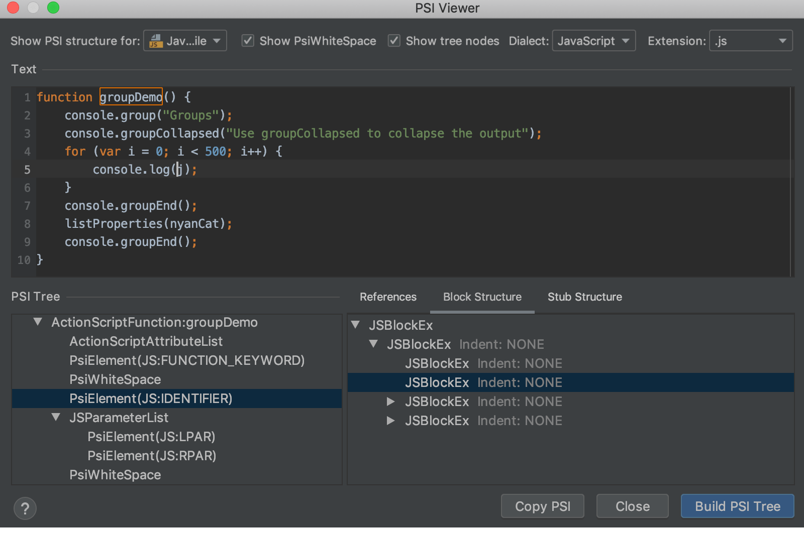 PSI Viewer - Help | WebStorm