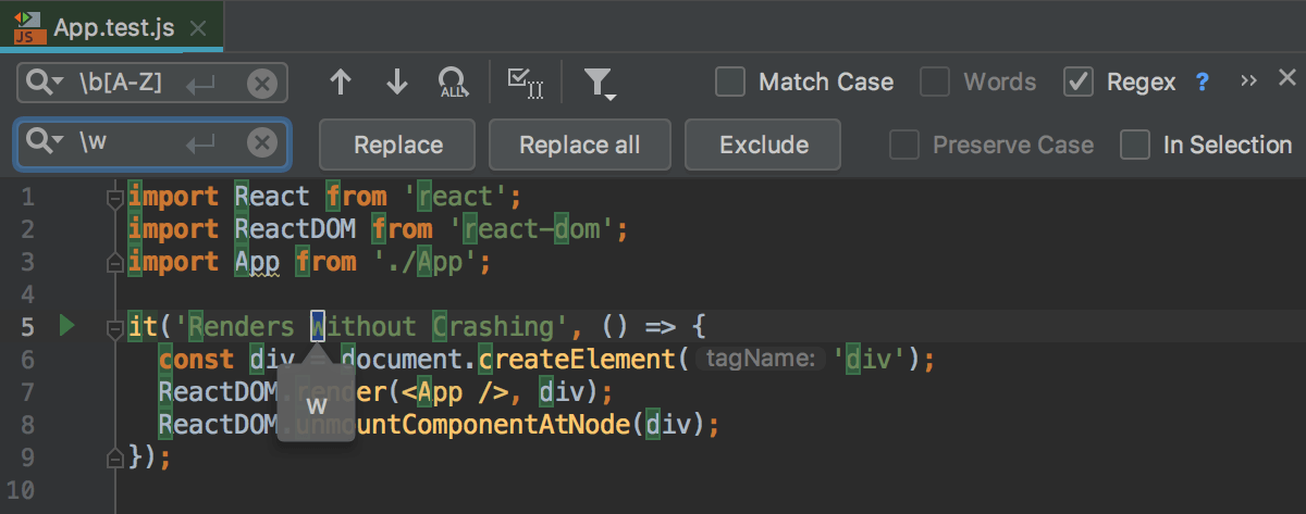 Find and replace a string using regular expressions - Help   WebStorm
