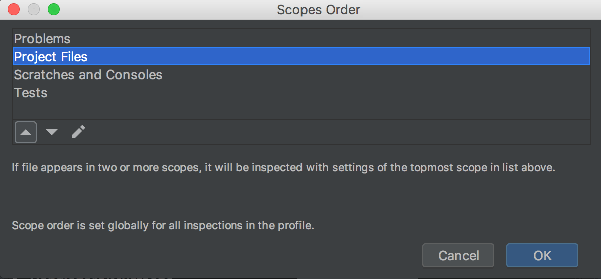 Changing the order of scopes