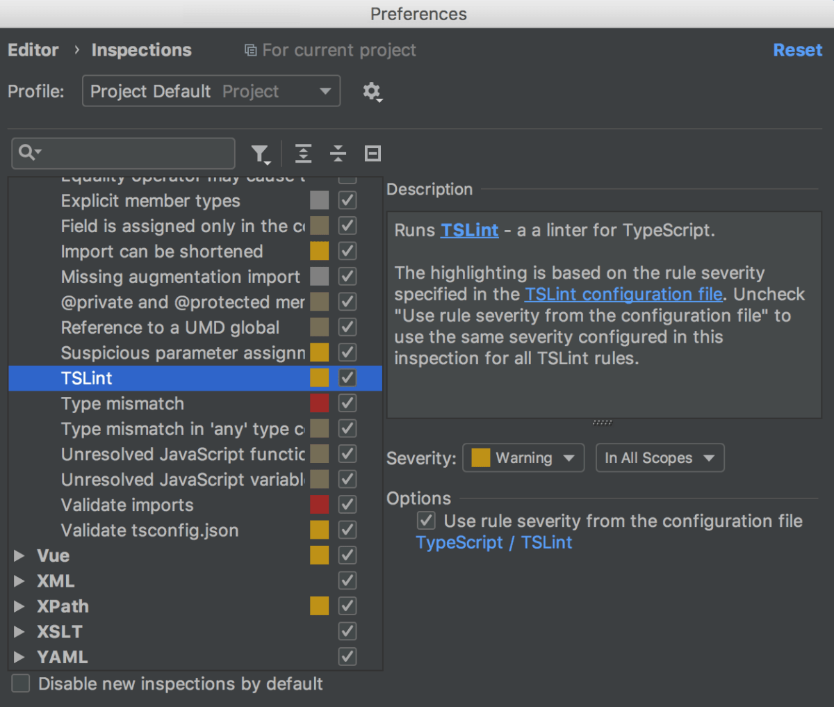TSLint - Help | IntelliJ IDEA