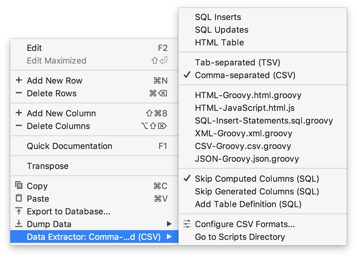 The data editor context menu