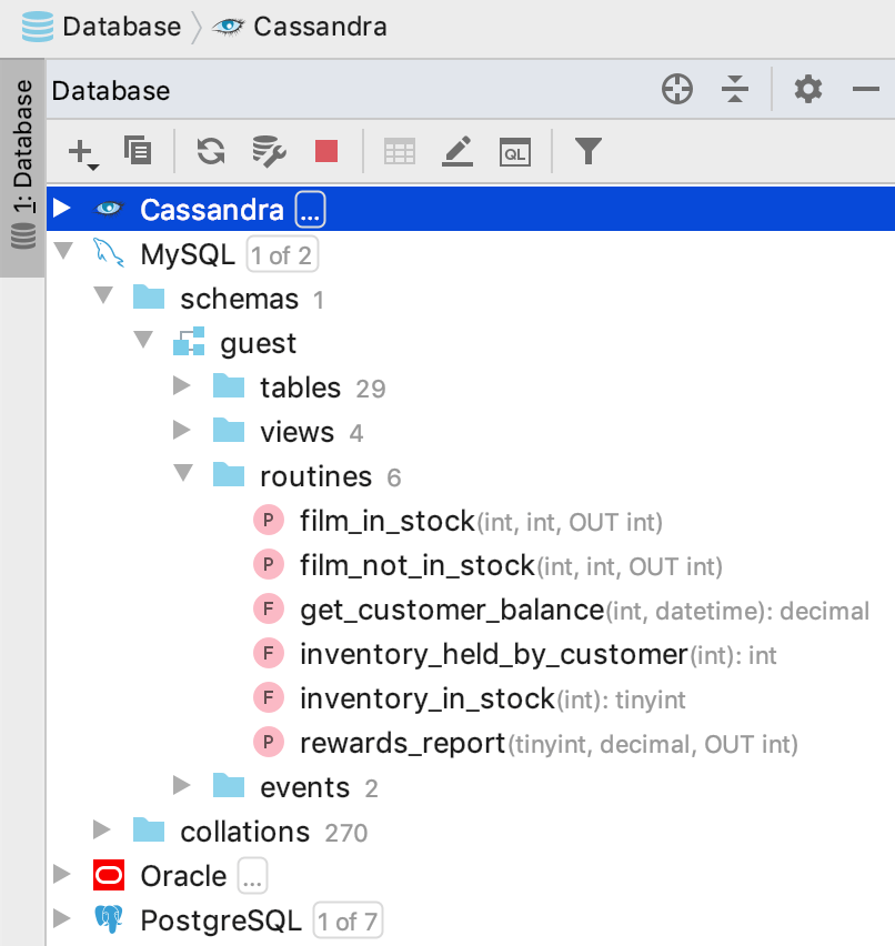 the Database tool window