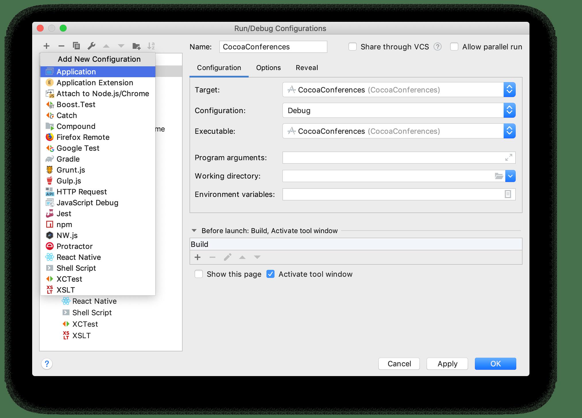 Add a new run/debug configuration