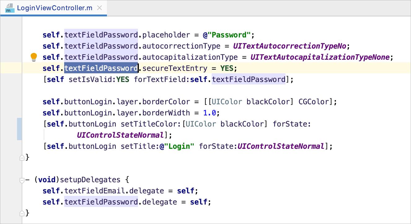 Find usages in file result