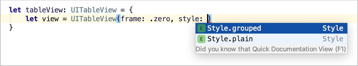 Smart type completion