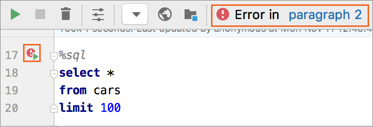 Execution with errors occurred