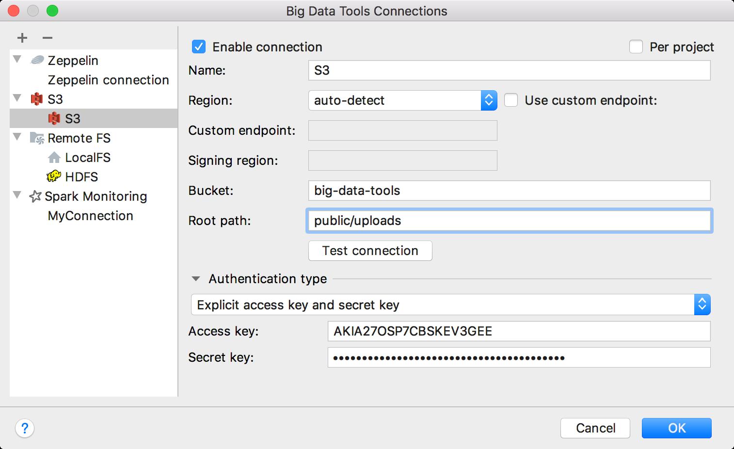 Configure S3 connection