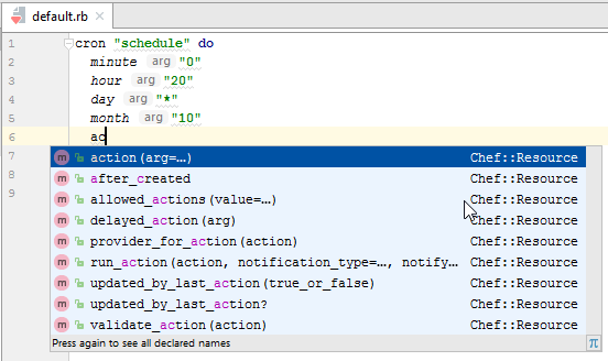 chef code completion