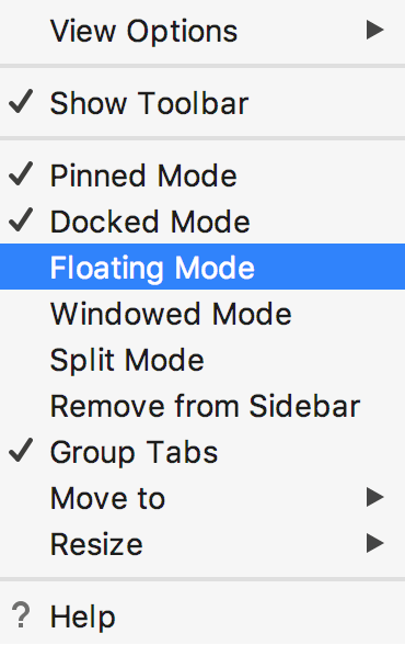 Tool window: viewing modes