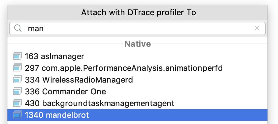 attach profiler to a process