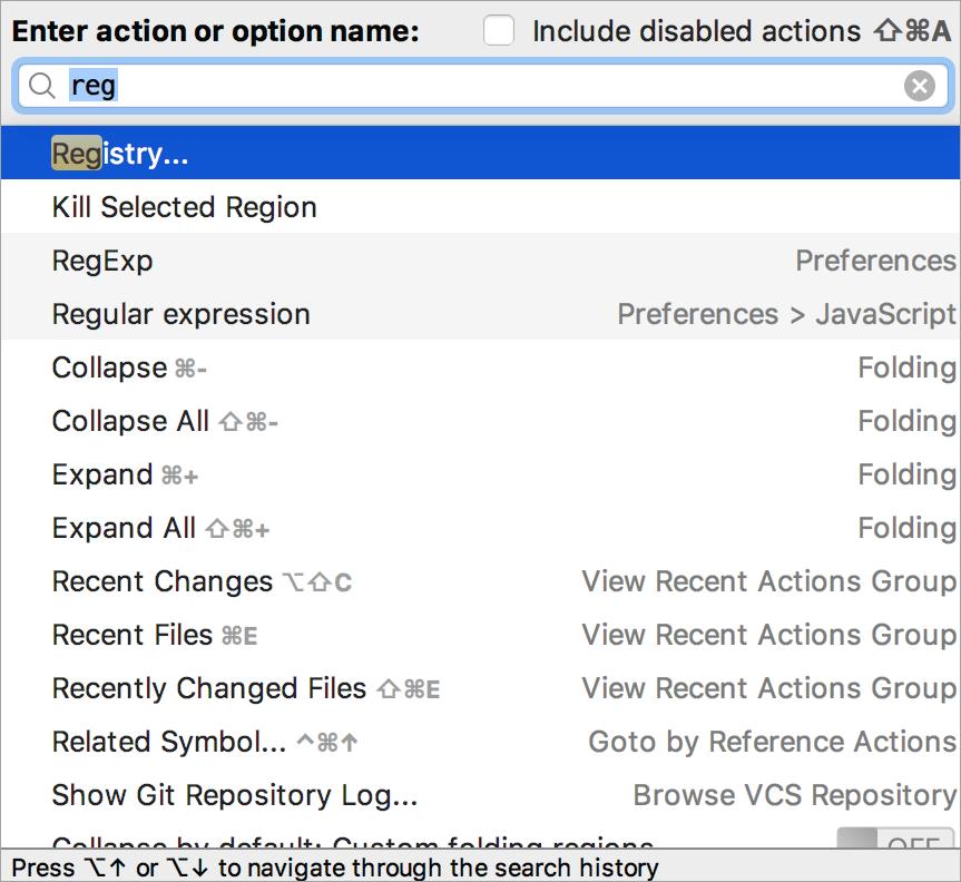 Registry action
