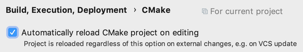 enabling auto reload in cmake settings