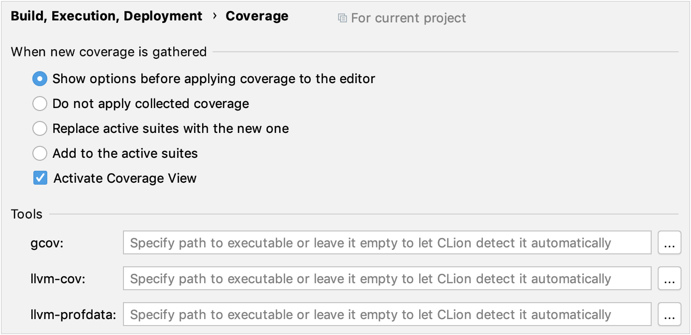 Code coverage settings