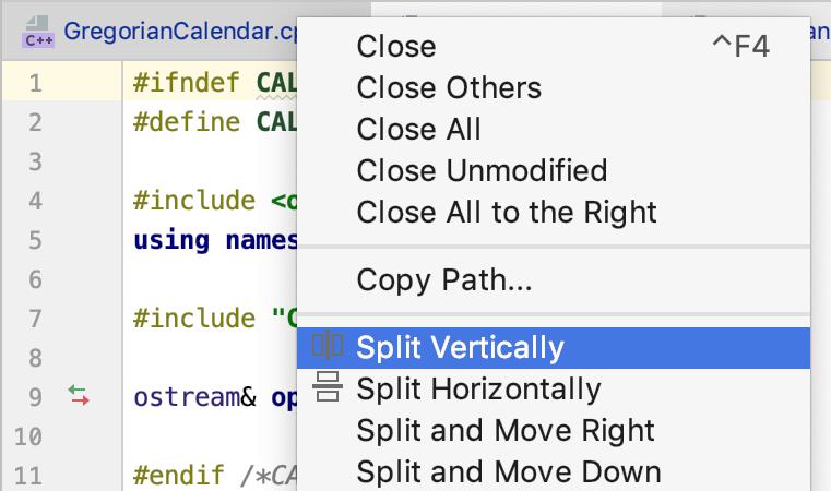 Editor splitting actions