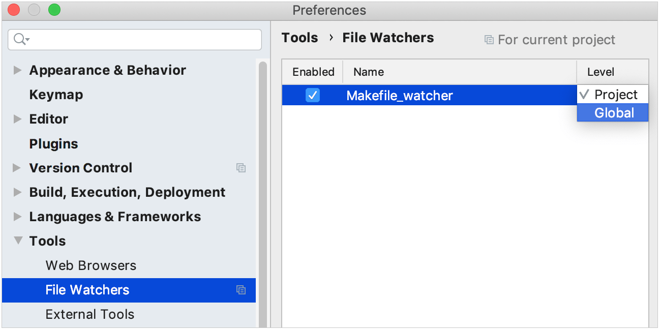 enable a File Watcher