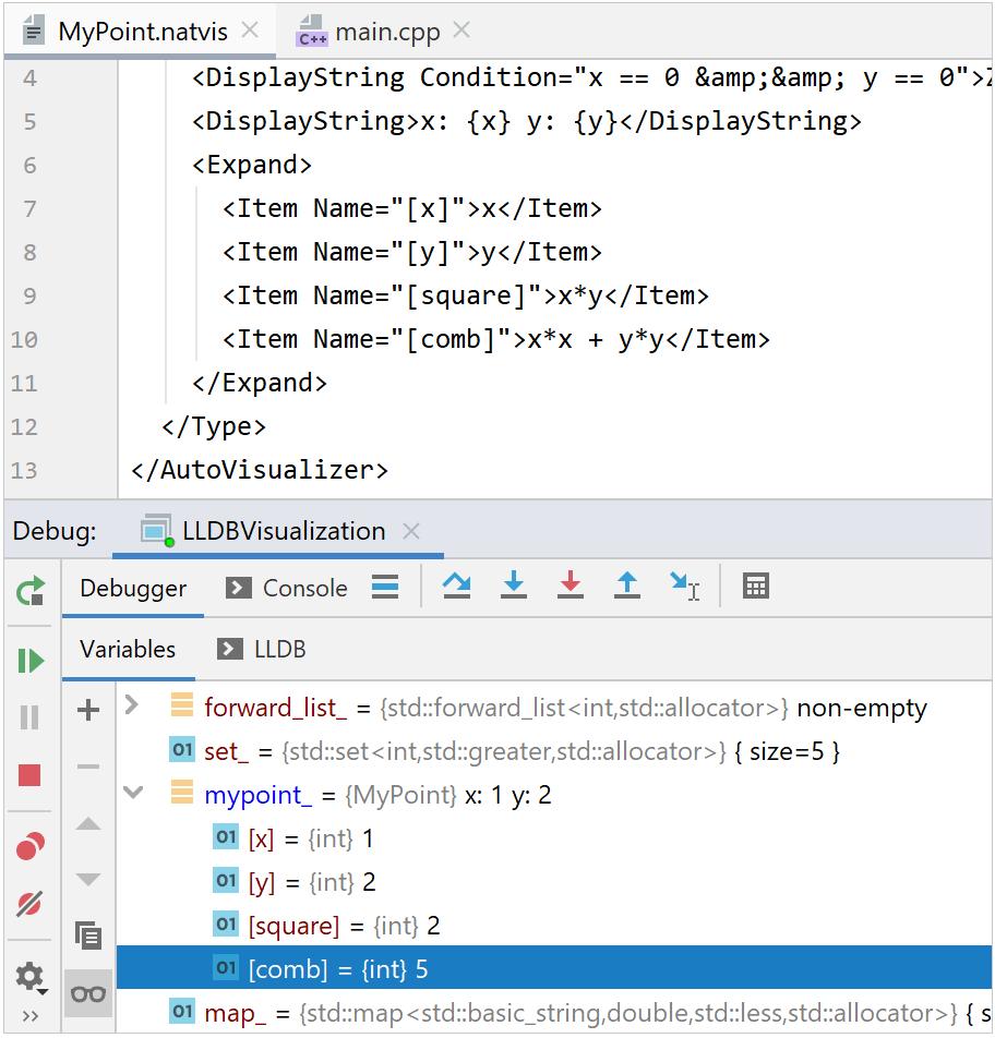 MSVC debug with custom NatVis