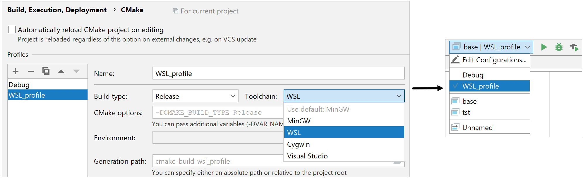 cmake profile for wsl toolchain
