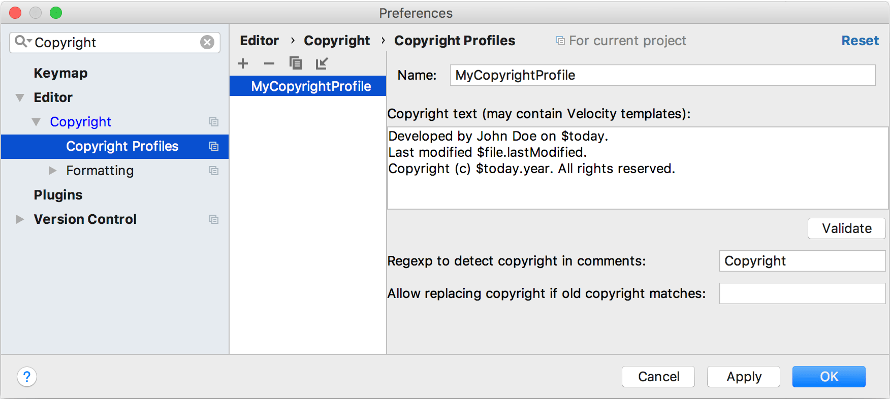 Configuring a copyright profile
