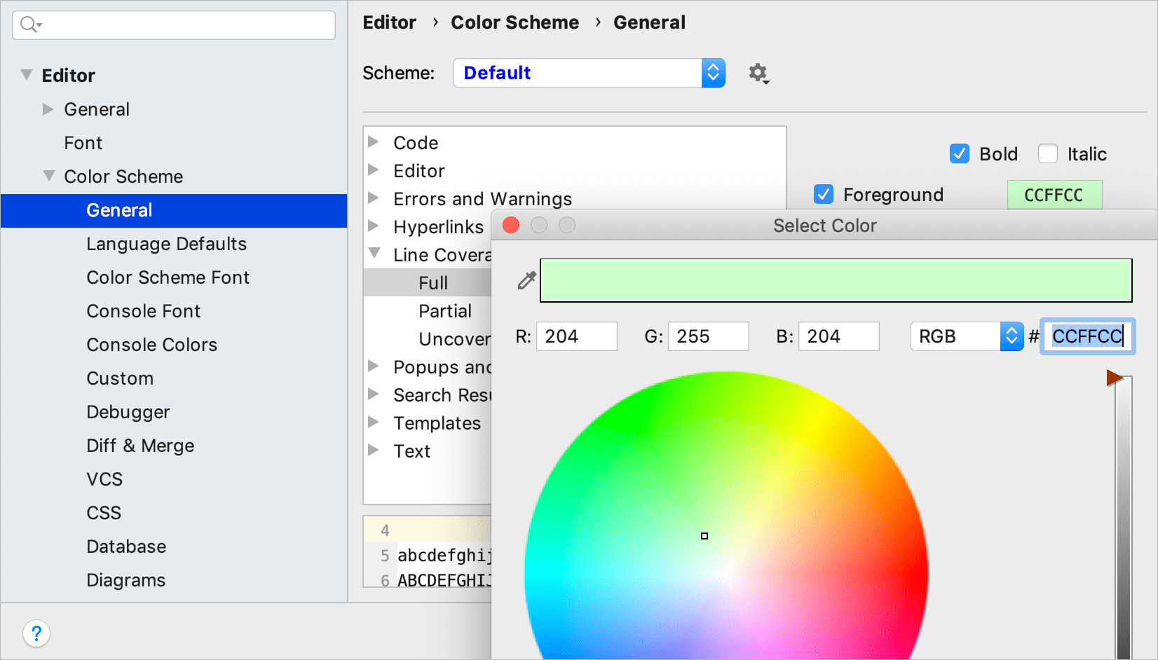Configure code coverage colors