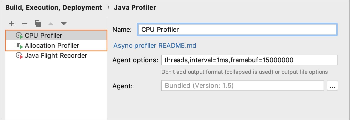 Configuring CPU profiler configuration