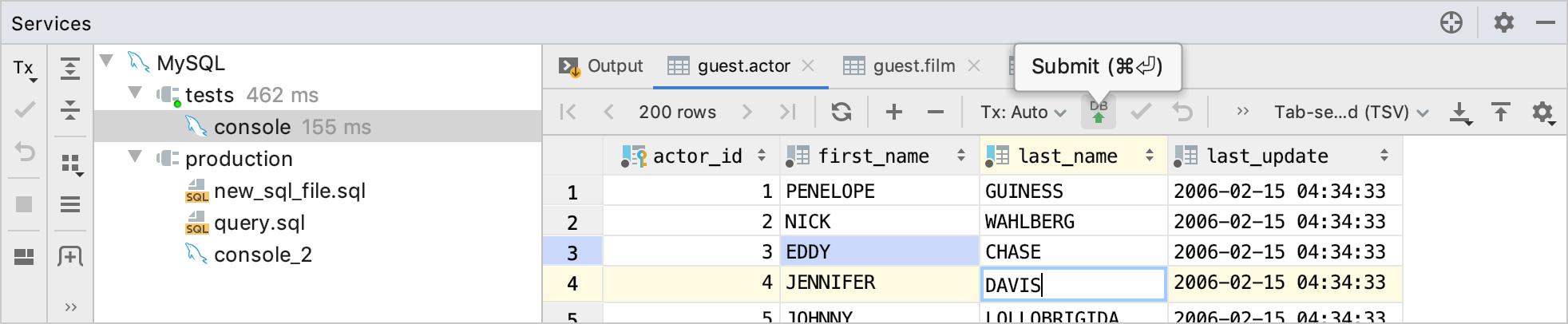Modify values in the result set