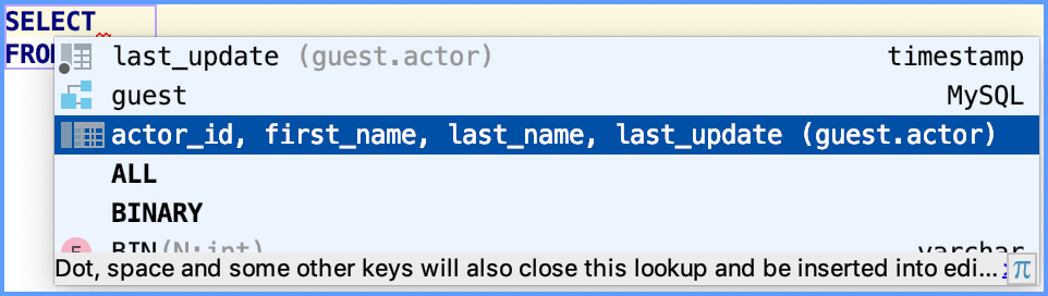 Example of the SELECT statement completion