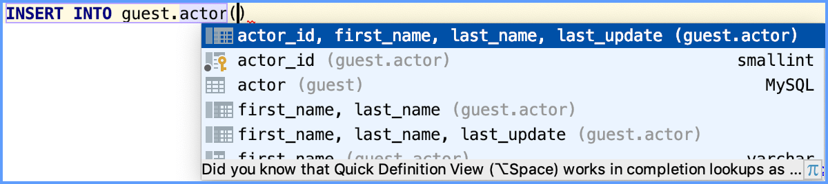 Example of the INSERT statement completion