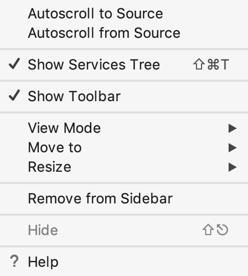 Context menu of a tool window tab