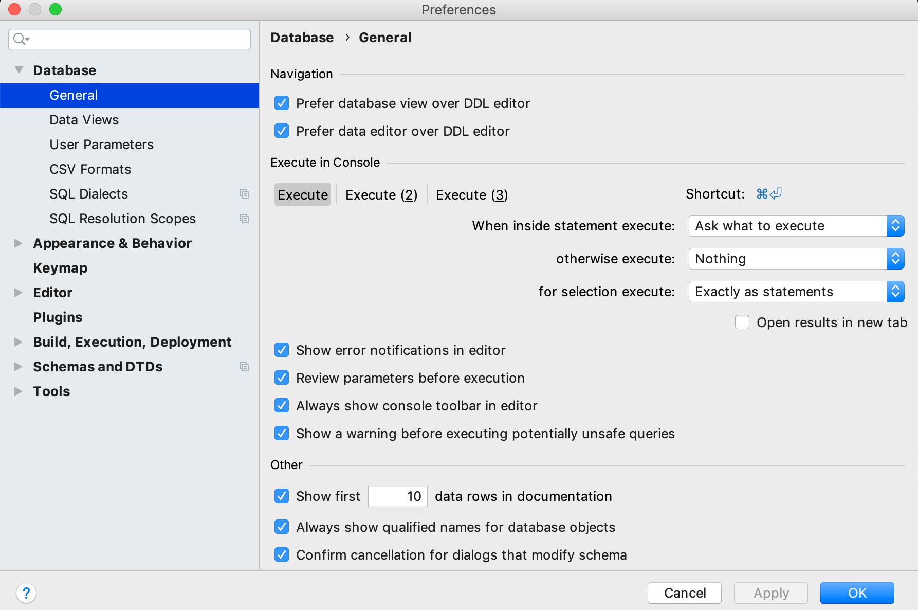 Modify console settings