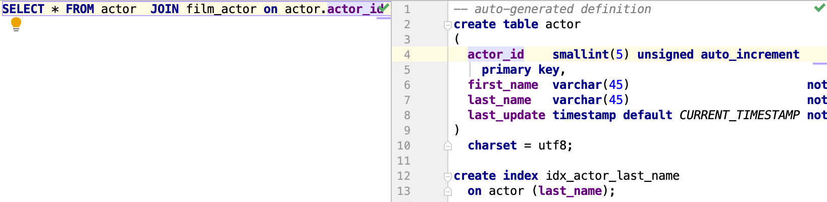 Open a definition in the DDL editor
