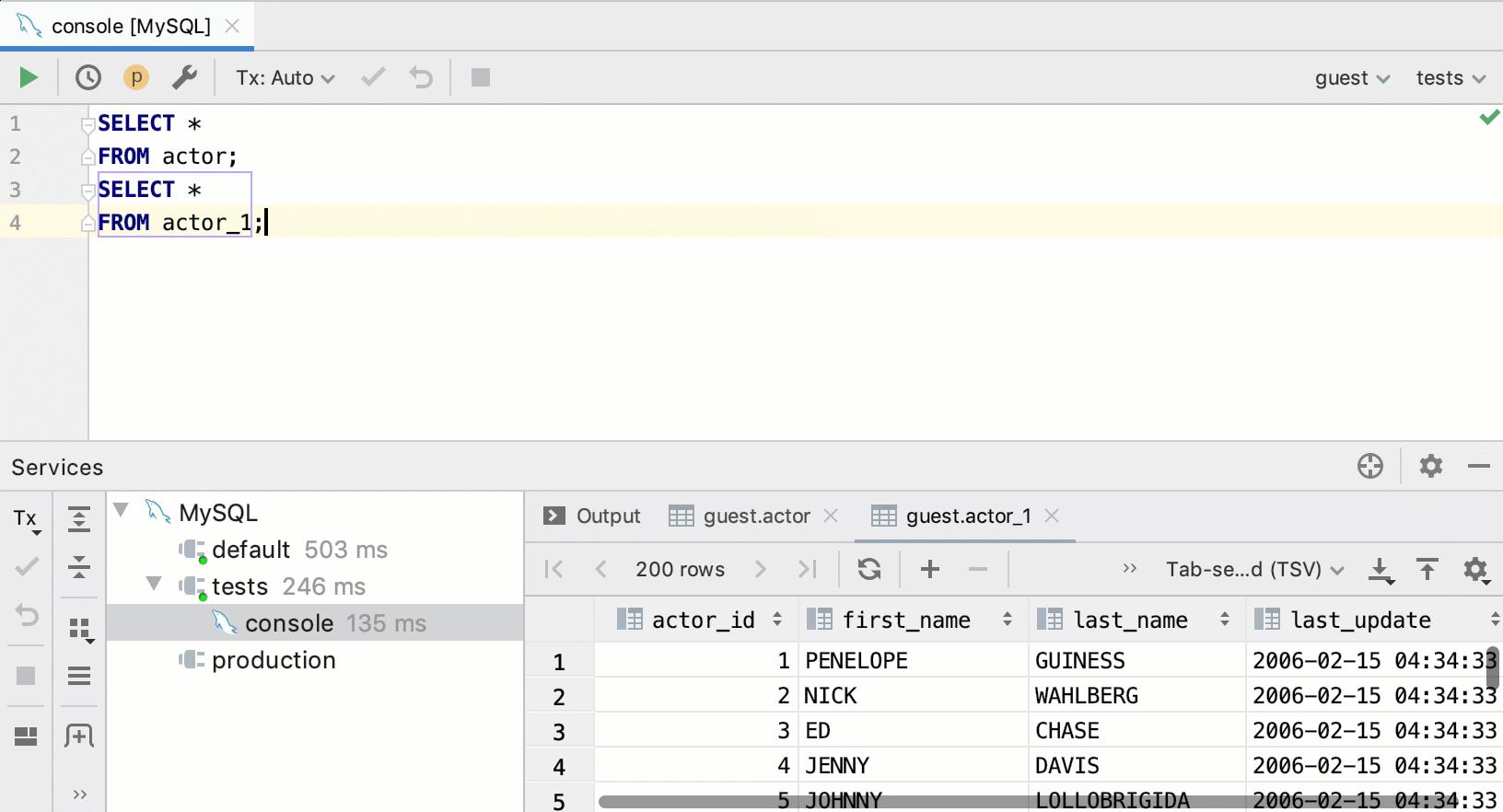 SQL statements - Help | IntelliJ IDEA
