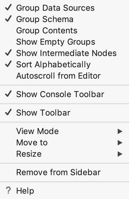 Tool window: context menu on pressing the Settings button on the title bar
