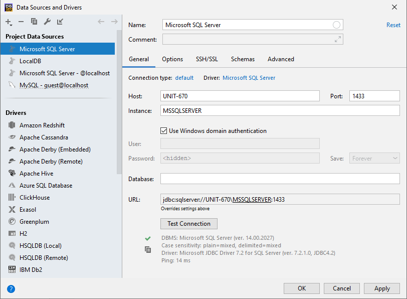 Connect by using SQL Server authentication