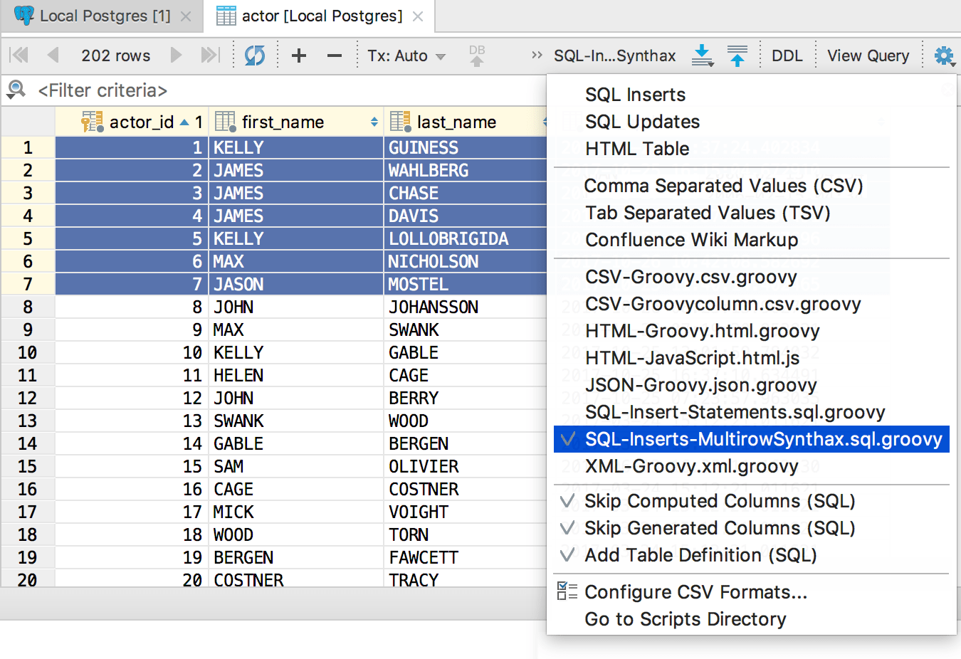 Select the script in the menu