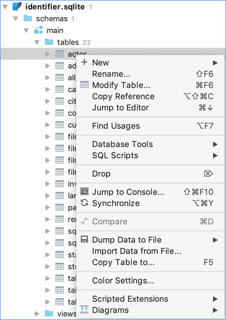 The context menu