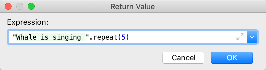 Return Value dialog