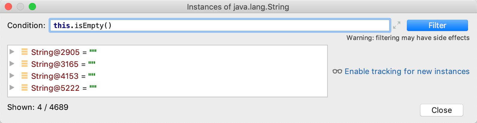 debug analyze heap instances
