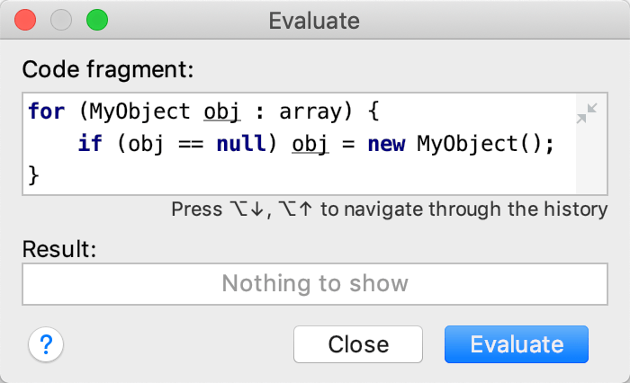 The expression is entered in the Code Fragment field