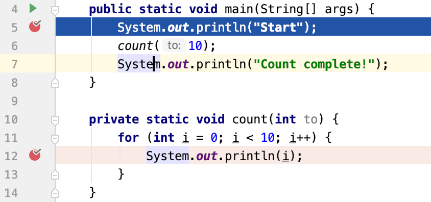 Caret is in the piece of code where we want to go