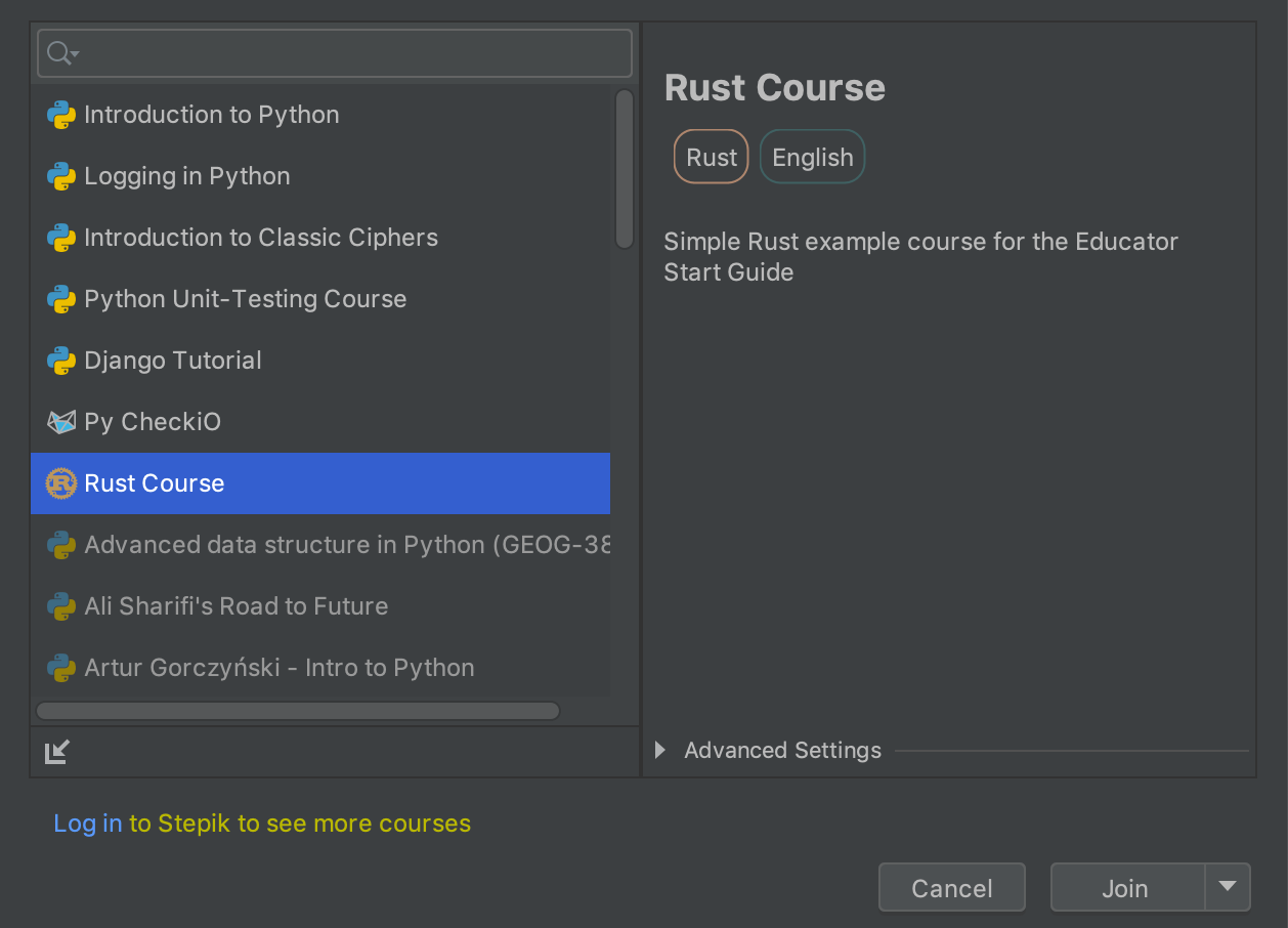 edu course imported rust