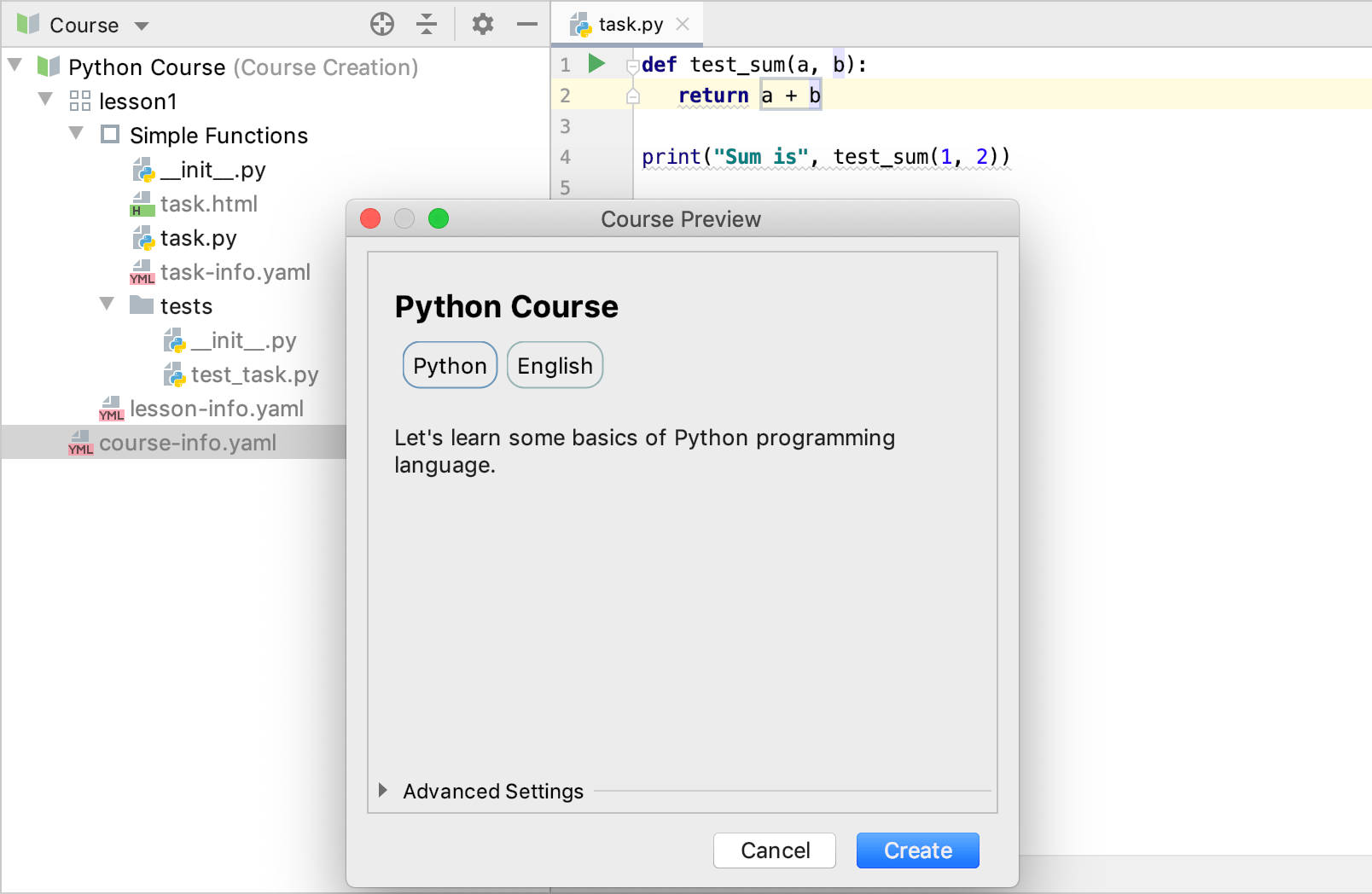 edu course preview python
