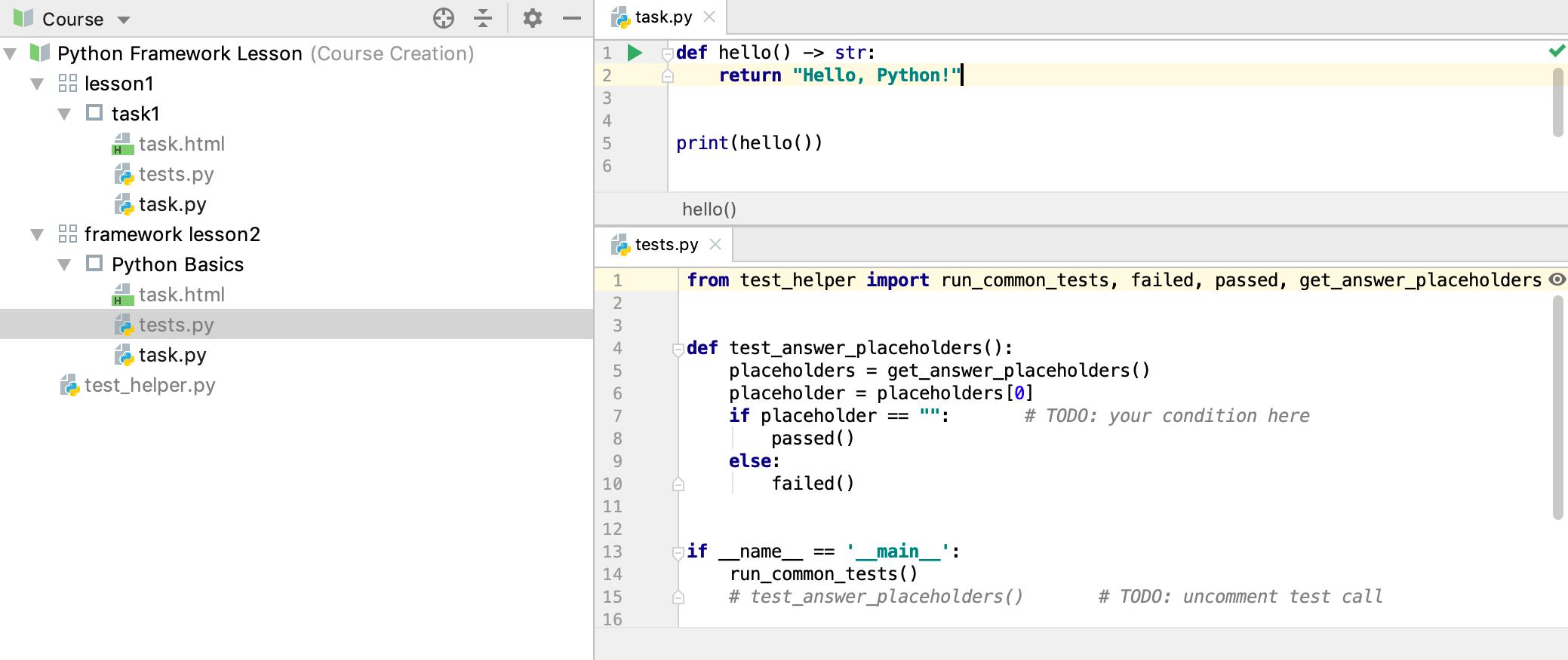 edu framework lesson test code python