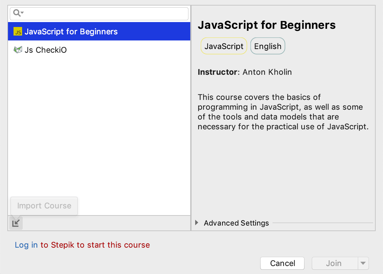 edu import course javascript