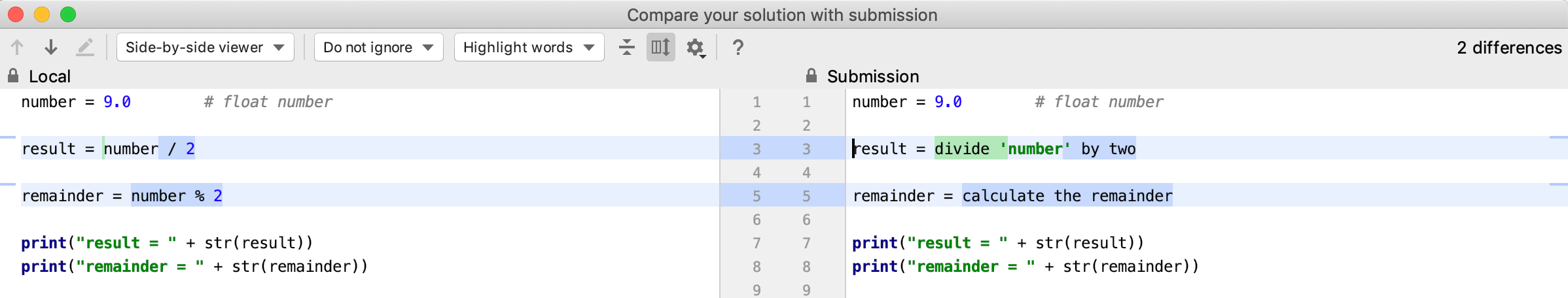 edu submissions diff python intro