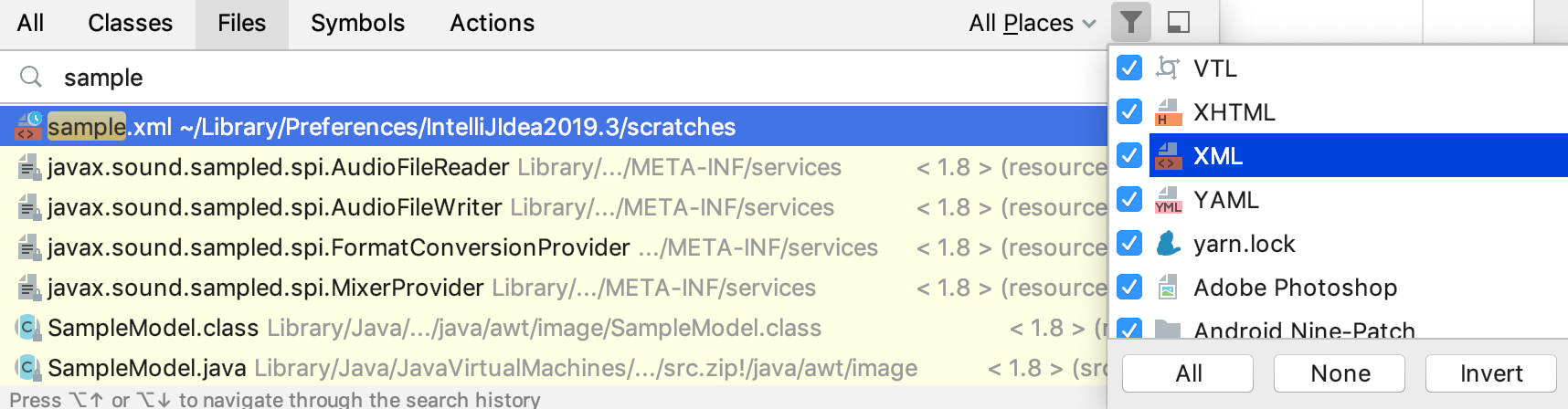 Exclude files from search