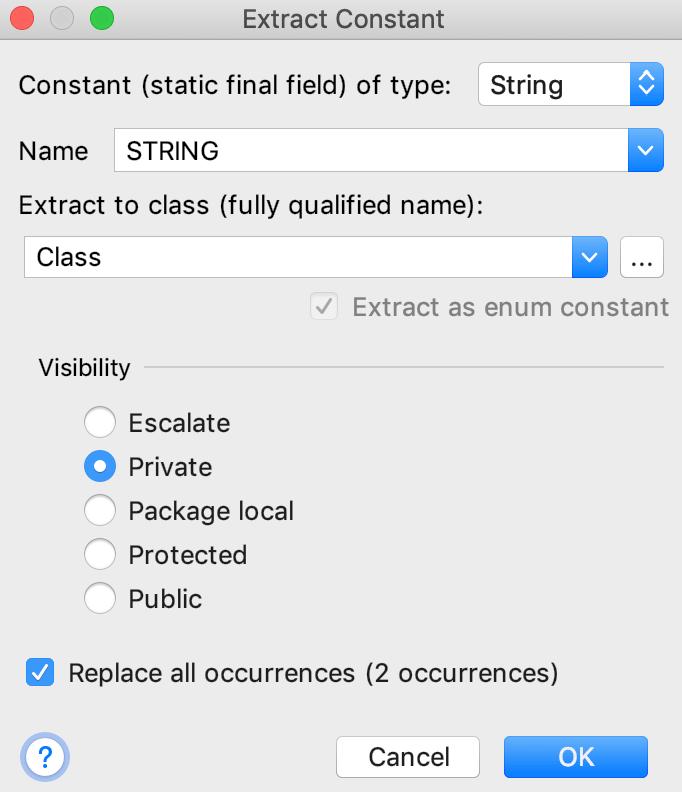 Extract constant - Help | IntelliJ IDEA